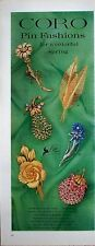 1962 Coro Pin Fashions Colorful Spring Jewelry Enameled Blossoms Fruit Flower ad