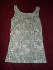 Old Navy Gray Beige Snake Print Sequined Tank Top Women's Size S Small NEW NWT