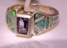 STUNNING! Emerald Cut Iolite Green red Opal Ladies Ring 5 $285 Sterling Silver