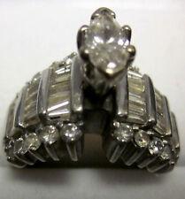 Vintage Diamond engagement Ring 14k, sz 5 1/2 w/ Marquise .75ct center stone