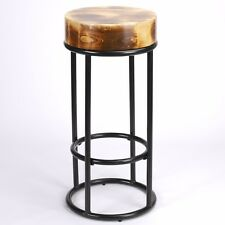 78cm Industrial Metal Black Bar Stool Chunky Round Wooden Top Kitchen Restaurant