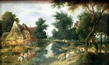 """oil painting handpainted on canvas """"village street with pond (summer) """"@NO8253"""