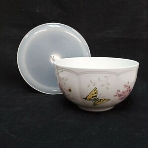 ❤ Lenox BUTTERFLY MEADOW Large Ceramic Bowl and Plastic Lid 7 Inches