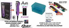 OSTER A6 SLIM ULTIMATE CLIPPER KIT&10 BLADE,10pc SS GUIDE COMB SET*WORLDWIDE USE