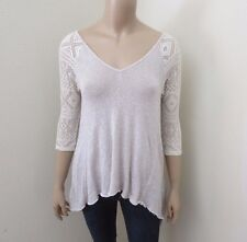 Hollister Womens Lace Knit Top Shirt Size XS Light Gray & Cream 3/4 Sleeves