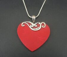 Large Heart Red Coral Sterling Silver 925 Pendant Chain NECKLACE