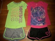 SO SOFTBALL & TIGER 2 PC TOP & SHORTS SETS ACTIVE OUTFITS GIRLS SZ L XL 14 16