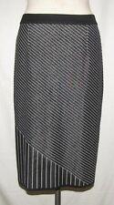 Misook Black/White Multi-Directional Stripe Knee Length Acrylic Straight Skirt S