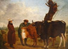 Fine Large18th Century Prize Bulls Farmer & Owner Landscape Antique Oil Painting