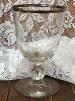"Vintage Glass Cordial Glasses W/ Silver Rims 5.5"" X 3.25"""