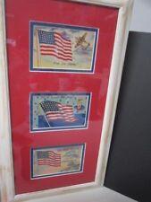 Vintage Usa Wwii Keep Em Flying Flag Postcards Framed & Matted Set Of 3