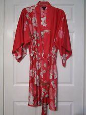 Natori Sleepwear Floral Pink Kimono Robe Black Label Size MEDIUM