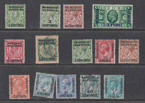 Morocco Agencies 1912-35 Used Overprinted Definitives Spanish currency George V