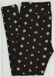 TC LuLaRoe Tall & Curvy Leggings Small White Flowers Paisley on Solid Black F38