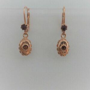 Granatschmuck Ohrringe Jugendstil Trachten Vintage Silber 925/- antik vergoldet