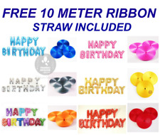 "16"" Happy Birthday Banner Balloon Bunting Free Ribbon & Straw Letters Foil baloo"