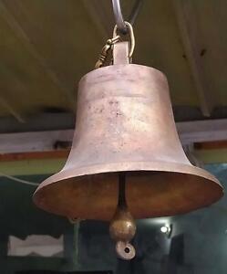 "1800's Antique Vtg Jerusalem School Church Cast Copper/ Brass Dinner Bell 7"" inc"