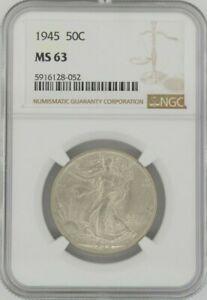 1945 50C Walking Liberty, NGC MS63