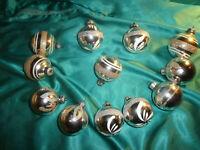 ~ 12 alte Christbaumkugeln Glas silber weiß Gold Glitzer Weihnachtskugeln CBS ~