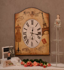 Wall Clock Paris ANNO 1900 Watch Postcards Optics Blackboard Shabby Chic