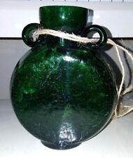 VINTAGE EMERALD GREEN CRACKLED GLASS FLASK WITH RATTAN ROPE HOLDER