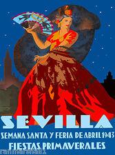 1943 Sevilla Seville Spain Europe European Vintage Travel Advertisement Poster