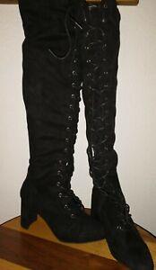 Wild Diva Sz 8 Thigh High Black Lace Up Hooker Boots, Drag Queen
