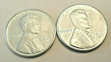 1943 S Lincoln Steel Wheat Cent / Penny Set (2 Coins) *FINE OR BETTER* FREE SHIP