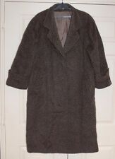 New L Lama & Wool Brown & Black Chevron Knit Heavy Long Coat Hidden Button Xmas