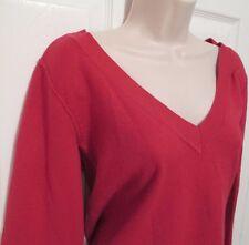 "V-Neck Sweater Women's ""Take Out"" Fuchsia, XL Stretch Lightweight Long Sleeve"