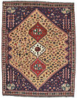 Vintage Tribal Qashqai Rug, 7'x9', Brown/Blue, Hand-Knotted Wool Pile