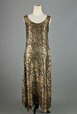 VTG Women's 20s 30s Art Deco Black & Gold Lame Dress Sz M 1920s 1930s