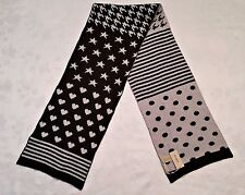 GERMANY-CODELLO DOTS HEARTS REVERSIBLE KNITED BLACK GRAY WOOL BLEND LONG SCARF