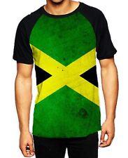 Jamaican Flag Men's All Over Baseball T Shirt - Reggae Rasta Festival Bob Marley S