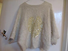 Soft Fluffy Beige Slight Crop Cherry Couture Jumper with Sequin Heart in Size 12