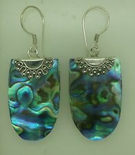 a Handcrafted Abalone Shell (New Zealand Paua) Dangle Earrings in 925 Silver