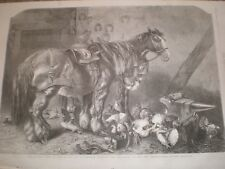 The Leisure Hour at the Smithy by Harrison Weir 1859 print AU