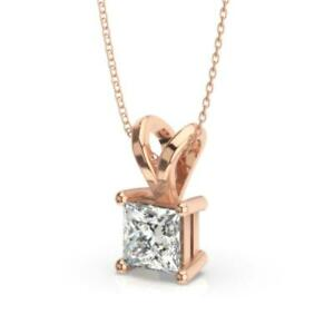1.75 Ct PRINCESS CUT REAL DIAMOND SOLITAIRE PENDANT NECKLACE 14K ROSE GOLD F SI1