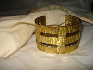 """RUSTIC CUFF Brass cuff Bracelet Statement 1 1/2 """" Wide"""