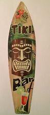 """TIKI BAR SURF BOARD SIGN NOVELTY 17"""" X 4.5"""" ALUMINUM"""