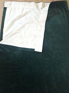 "2x 72x64"" Vintage LANFINE Emerald Green Heavy Velvet Lined Curtains blackout"
