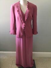 Giorgio Armani Rose Pink Silk Long Dress Jacket Ruffle Edge Italy 42 2 Piece