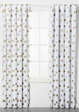 Pillowfort Contemporary Polka Dot Blackout Curtain One Panel White Gold 42 x 95