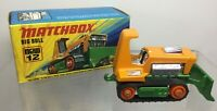 Vintage Matchbox Lesney 1975 Big Bull Bulldozer No 12 In Original Box