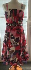 Red & Pink Floral Dress with Skirt Netting Wedding Party Cocktail Size 12 R