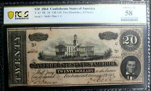 T-67 $20 1864 CONFEDERATE   CSA PCGS 58 CHOICE ALMOST UNCIRCULATED PF-10