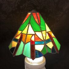 "Antique Tiffany Style Green Stained Glass 11"" Lamp Shade Vintage Table Light"