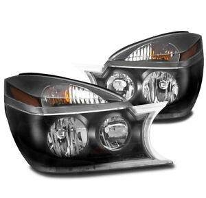 FOR 02-07 BUICK RENDEZVOUS CX CXL CRYSTAL STYLE BLACK HEADLIGHTS HEADLAMPS LAMP