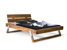 Doppelbett Holzbett Bett Balkenbett 160x200 cm TYLER Fichte Eichefarbig gebeizt