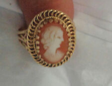 14KT YELLOW GOLD CARVED SHELL CAMEO RING SIZE 7 WT.  9.8 GRAMS